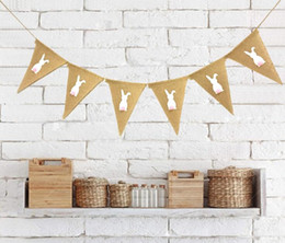 bandiere di burlap Sconti Pasqua Banner Flags Rabbit Stampato Banner Flag vintage Wedding Party Tela striscioni Rustico decorazione di nozze 2m