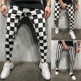 Pantalones lápiz xxl online-Los hombres frescos de la moda Slim Jogger Skinny Pencil Pantalones cómodos rayas a cuadros Hip Hop pantalones casuales S-XXL