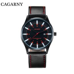 Marcas de relógio de pulso japonês on-line-Relogio Top marca Cagarny 6866 dos homens elegante e minimalista pulseira de couro relógio de quartzo de luxo movimento Japonês masculino relógio de Pulso Masculino