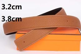 Hebillas de vaquero online-3.2 cm 3.8 cm Diseñador de lujo de alta calidad H cinturón de hebilla de cobre cepillado para hombres cinturón de cuero de lujo caja de ganado vaquero
