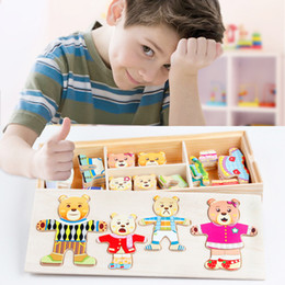 деревянные игры для детей Скидка Детское платье Игры на переодевание 3d Bear Family Jigsaw Puzzles for Kids Развивающие деревянные игрушки для детей Обучающая коробка