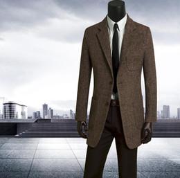 Cappotto lungo trench da uomo marrone online-2019 autunno monopetto a lungo cappotto di lana uomini marrone sottile del mens trench cappotto casaco masculino moda più il formato S - 9XL
