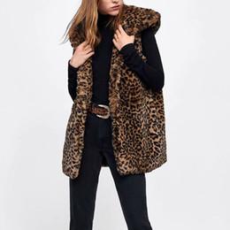 Mujeres-s Faux Fur Con capucha Chaleco-s Leopardo Chaleco largo Otoño Animal Impreso Delgado Colete Girls Winter Warm Vintage Brown Jackets desde fabricantes