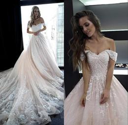 Abiti da sposa con spalle scoperte rosa pallido Appliques di paillettes Una linea abito da sposa vestido de novia BC2044 da