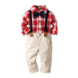 4caa165dbe495 2019 garçons rouge à carreaux noeud papillon chemise chemise bavoir costume  robe d anniversaire