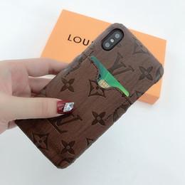 2019 bolsillo trasero del iphone fundas de teléfono de diseñador de lujo para iphone 11 pro max 8plus X XR XS MAX con bolsillo rígido de tarjeta para samsung galaxy S8 note9 10plus rebajas bolsillo trasero del iphone