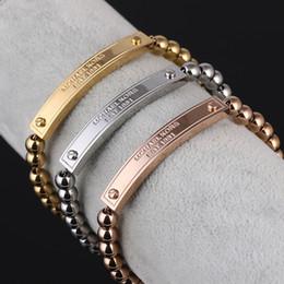 2019 cavo di braccialetto di lettera Designer Coppia Bracciale Classic 3 Color Metal Strip Letter Cordoncino in pelle con perline in acciaio al titanio Catena B004 sconti cavo di braccialetto di lettera
