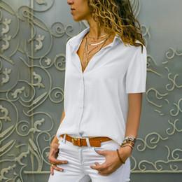 2019 schlichte hemdbluse MUQGEW 2019 neue Mode Womens Solid Shirt Büro Damen Plain Kurzarm Bluse Top blusas mujer de moda 2019 camisas mujer rabatt schlichte hemdbluse
