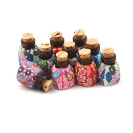 clay decor Promo Codes - Mini Bead Storage Polymer Clay Bottle With Corks Clear Small Tiny Glass Vials Jewelry Special Gift Wish Bottle For Payty Decor