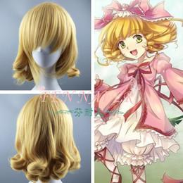 Nuevas pelucas doradas online-peluca New Golden Rose animado chica joven frambuesa torta de la princesa del rollo corto y rizado Cos