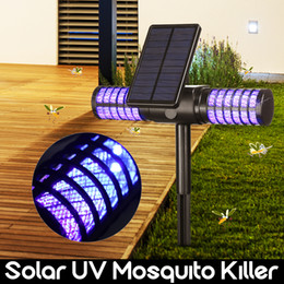 zapper lamp Coupons - Solar Mosquito Killer Lamp Outdoor Waterproof Villa Yard Garden LED Light Lawn Camping Lamp Large Bug Zapper Light Whole Night
