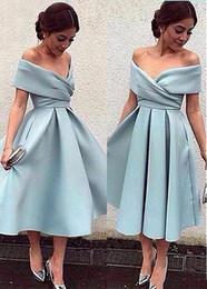 2019 vestido de chá alto vintage Sexy luz azul vestido de coquetel fora do ombro chá comprimento curto partido baile vestidos de alta qualidade regresso a casa vestidos formal vestido vestido de chá alto vintage barato