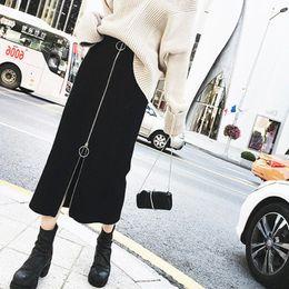 faldas de mezclilla mujeres al por mayor Rebajas Las mujeres nuevas de la manera de la calle de la cremallera de la falda faldas de los vestidos de talle alto Casual una línea faldas delgada más larga para Butt Falda