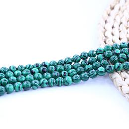 Pietre di malachite per gioielli online-Perline di pietra di malachite Perle rotonde lisce Forniscono un campione di 15 pollici per set per gioielli fai da te