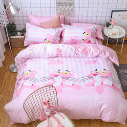 Tierblattsets online-Sweet Pink Panther Tierweiß StripeBed Sheet Bedding Set Kinderzimmer Twin Voll Queen Size Bettbezug TJ-56