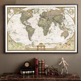Офисные принадлежности зеленый онлайн-Большая Карта Мира Канцелярские товары подробный винтажный плакат Старая настенная диаграмма ретро Матовая бумага Крафт-бумага 28 * 18 дюймов Карта мира