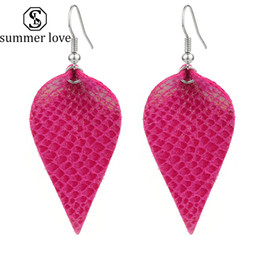 earrings for girls double sided Coupons - 2019 Hot sale Fashion Double Side Pu Leather Leaf Dangle Earring for Women Girls Light Leather Drop Hook Earring Trendy Jewelry