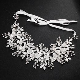 Accesorios directos para el cabello online-Woodqiqi boda accesorios para el cabello joyería nupcial fábrica directa de aleación de flores hoja de pelo rosa banda de sombrerería bijoux