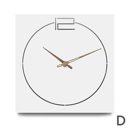 2019 квадратные часы Nordic Modern Wooden Wall Clock Living Room Creative Simple Europe Silent Handmade Quartz MDF Wood Square Hanging Wall Clocks скидка квадратные часы