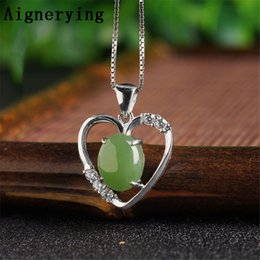 precious jade pendant Promo Codes - Fine jewelry Sterling 925 silver Infinity Precious Certificate Green Jade for Women Men Necklaces Supply Vintage Pendant
