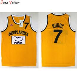 Dividir mochilas esportivas on-line-Homens Moive Toni Kukoc Jersey # 7 Camisas Jugoplastika Split Amarelo Pop Jerseys Tudo Costurado Para Os Fãs de esporte Respirável de Alta Qualidade