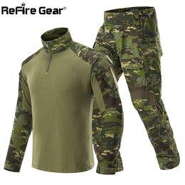 camuflaje de manga larga camisa uniforme Rebajas ReFire Gear Ropa de uniforme de camuflaje táctico Hombres Conjuntos de trajes de combate del ejército Pantalones cargo impermeables Camisetas de manga larga