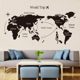 2019 adesivos de parede de vinil pássaros de árvore negra Mundo preto mapa de viagem adesivos de parede de vinil para quarto de crianças home decor escritório art decalques 3d papel de parede sala de estar quarto decoração