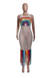 Сексуальные ажурные платья онлайн-Rainbow Tassel Sexy Beach Boho Dress Женщины Ажурные выдалбливают Прозрачное Вечернее Платье Лето O Шеи Без Рукавов Макси Халат S-3XL A52106