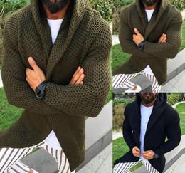 2020 uomini rivestono di fronte Maglione cardigan con cappuccio da uomo autunno-inverno con cappuccio lavorato a maglia Cappotti anteriore aperto Mens Hoodie Outwear Knitting soprabito sconti uomini rivestono di fronte