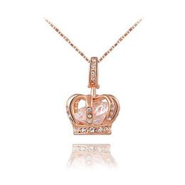 Позолоченные королевы ювелирных изделий онлайн-Ювелирные изделия женская королева корона кулон ожерелье 3 Lays розовое золото / платина с кристаллами Austrain лучший подарок для подруги ну вечеринку валентина