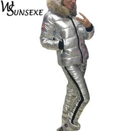 lunghe giacche calde con cappuccio donna Sconti Winter Warm 2 Piece Sets Metal Silver Jacket Tute Women Fur Hooded Zipper Cotton imbottito Coat Parka e Long Pants New Outerwear