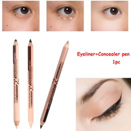 2020 lápiz corrector impermeable 2 en 1 doble composición Delineador de ojos a prueba de agua palillo de la pluma del Eyeliner + Corrector lápiz de ojos atractiva Herramientas y larga duración de belleza maquillaje cosmético lápiz corrector impermeable baratos