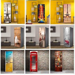 arte de parede espelho redondo Desconto Diy paris torre padrão decorativo auto-adesivo de vinil porta geladeira adesivos mural para cozinha geladeira moderna home decor