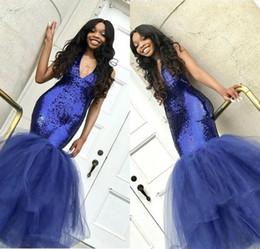 vestidos de formatura Desconto Azul Royal 2019 Sparkly Sereia Lantejoulas Vestidos de Baile Profundo V Neck Tule Até O Chão Puffy Equipado Prom Vestidos Mulheres Vestido de Festa À Noite BC1191