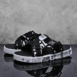 Zapatos planos usados online-Sandalias de verano para hombre, zapatillas, zapatos de doble uso, zapatos planos de moda, antideslizantes impermeables, zapatos con patrón de conducción