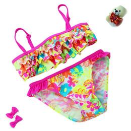 Argentina 2019 Nuevo verano Estilo europeo y americano Flores Bikini Traje de baño para niños Niñas Bikini dividido Niños Traje de baño de capa de pastel supplier bikini cake Suministro