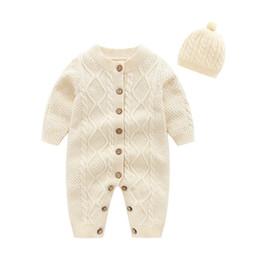 chapéus bola de futebol Desconto Pudcoco inverno recém-nascido da menina do menino roupa do bebê Botão da cor sólida camisola de manga longa Romper Macacão Chapéu 2pcs Roupas Roupas