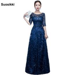 Medias mangas de vestidos formales de diseño online-Suosikki más nuevo diseño largo vestido de noche brillante media manga elegante de las mujeres vestido de fiesta de graduación Robe De Soiree Y19042701