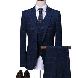 Mens maßgeschneiderte anzüge online-OSCN7 Blue Plaid Maßgeschneiderte Anzüge Männer 3 Stück Gentleman Business Hochzeit Maßgeschneiderte Herrenanzug Blazer Anpassen 7137-09