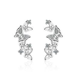 Studs para barato on-line-100% 925 sterling silver moda butterfly crystal ladies`stud brincos de jóias mulheres femininas presente de aniversário transporte da gota barato