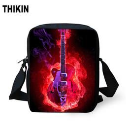 fogo de guitarra Desconto THIKIN DJ Guitarra noite com fogo impressão pequeno Crianças Messenger Bag Student personalizado Mini Bookbag para Meninos Meninas Crianças Tote