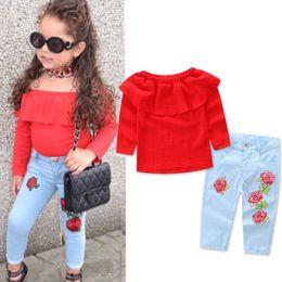 2019 blusas de manga larga de flores para niños 2019 Niños pequeños Bebé Niña Ropa floral de manga larga Conjunto Blusa Camiseta Tops + Denim Jeans Pantalones Ropa Conjunto Princesse