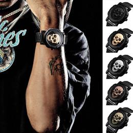 мужские часы панк Скидка Человек Водонепроницаемый Кварцевые Часы Панк Забавный Череп Циферблат 3D Личные Часы Большой Циферблат Ретро Дизайн с Ремешком Из Нержавеющей Стали LL @ 17