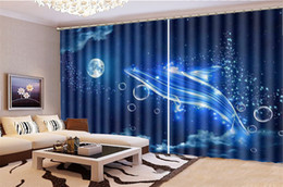 dolphin curtains Coupons - Wholesale Curtain For Kitchen Fantasy Bubble Abstract Dolphin Decorative Interior Beautiful Blackout Curtains