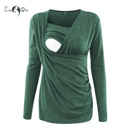 ropa de talla grande Rebajas Tops de enfermería Ropa de invierno de maternidad Camiseta de manga larga Top de lactancia Ropa de embarazo Blusa de mujer Tallas grandes Verde Rosa