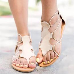 d3b48156203 2019 flache sandalen strand hochzeit schuhe Frauen Gladiator Sandale  Plaform Gummi T-Tied Reißverschluss Wohnungen