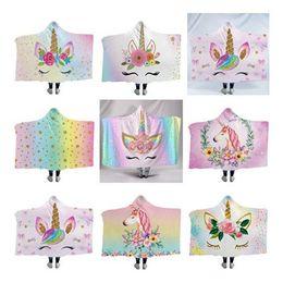 Mantas únicas online-Mantas de unicornio Capa con capucha Manta de tiro Espesar Impreso en fleece 3D Flamigo Moda Colorido Niños únicos Adultos Hogar Navidad