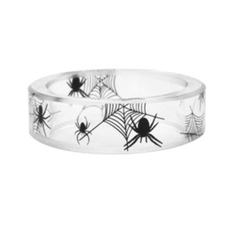 3d1f6a22b49db black spider ring Coupons - GELICITY Spider Pattern Resin Black   white  Scenic Spider Web Ring