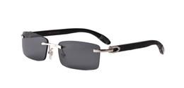 Luxus-2019 Marke Sonnenbrille für Männer Frauen weiße Büffelhorn Brille randlose Designer Holz Bambus Sonnenbrille mit Box Fall Lünetten von Fabrikanten