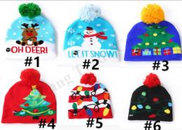 sombrero de invierno muñeco de nieve Rebajas LED Pom Beanies Kids Warm Knit Skull Caps Junior Boys Girls Women Men Winter Hat Hallowmas Pumpkin Snowman Christmas Hats Party Gifts B82104